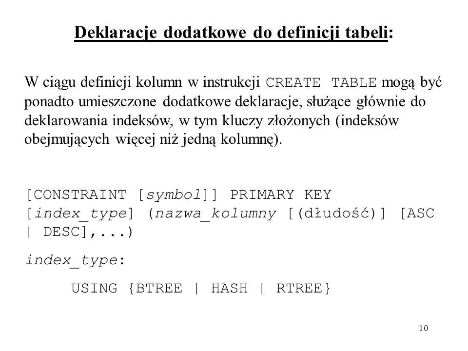 10 Deklaracje dodatkowe do definicji tabeli: W ciągu definicji kolumn w instrukcji CREATE TABLE mogą być ponadto umieszczone dodatkowe deklaracje, słu