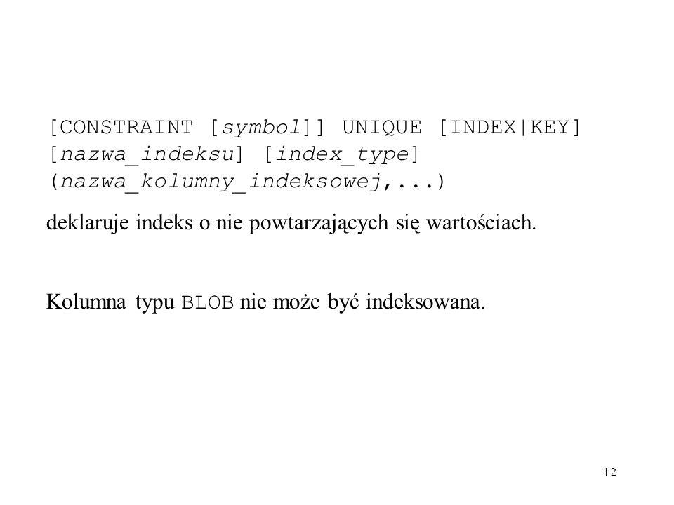 12 [CONSTRAINT [symbol]] UNIQUE [INDEX|KEY] [nazwa_indeksu] [index_type] (nazwa_kolumny_indeksowej,...) deklaruje indeks o nie powtarzających się wart