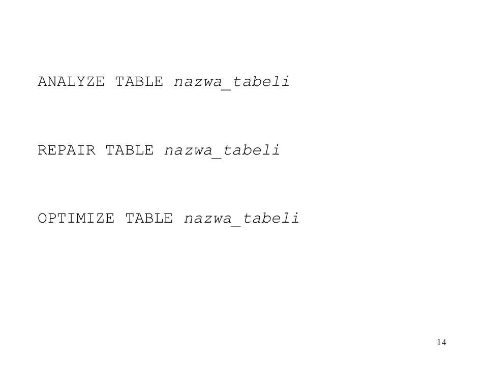 14 ANALYZE TABLE nazwa_tabeli REPAIR TABLE nazwa_tabeli OPTIMIZE TABLE nazwa_tabeli