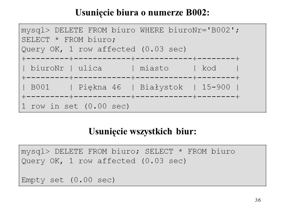 36 mysql> DELETE FROM biuro WHERE biuroNr='B002'; SELECT * FROM biuro; Query OK, 1 row affected (0.03 sec) +---------+------------+------------+------