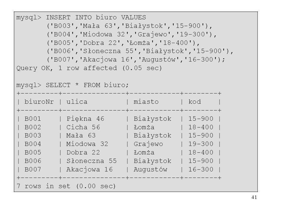 41 mysql> INSERT INTO biuro VALUES ('B003','Mała 63','Białystok','15-900'), ('B004','Miodowa 32','Grajewo','19-300'), ('B005','Dobra 22',Łomża','18-40