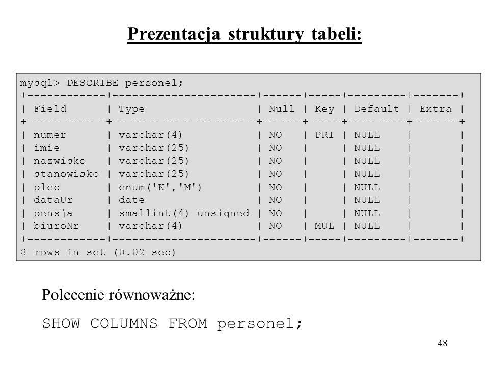 48 Prezentacja struktury tabeli: mysql> DESCRIBE personel; +------------+----------------------+------+-----+---------+-------+ | Field | Type | Null