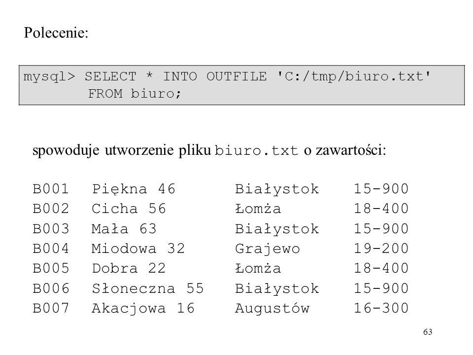 63 mysql> SELECT * INTO OUTFILE 'C:/tmp/biuro.txt' FROM biuro; Polecenie: spowoduje utworzenie pliku biuro.txt o zawartości: B001Piękna 46Białystok15-
