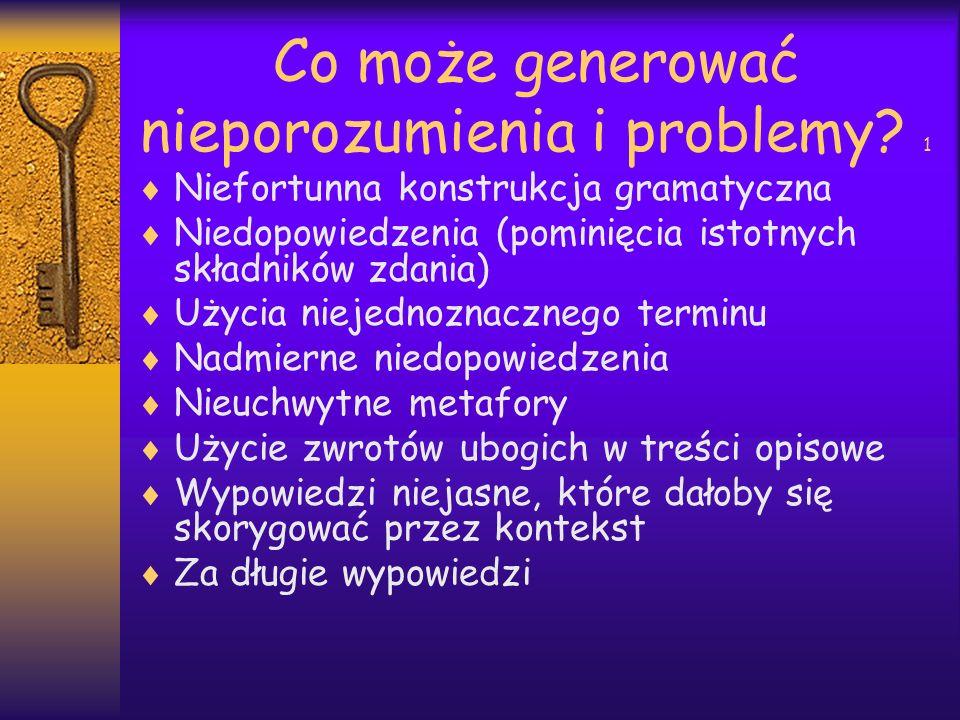 Co może generować nieporozumienia i problemy? 1 Niefortunna konstrukcja gramatyczna Niedopowiedzenia (pominięcia istotnych składników zdania) Użycia n