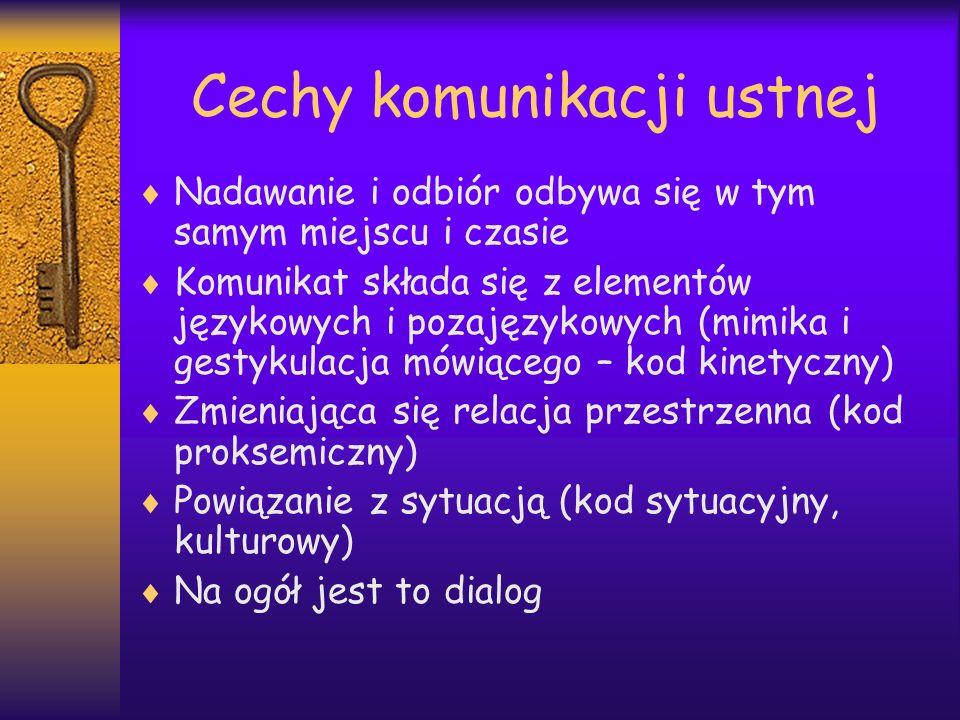 Cechy komunikacji ustnej Nadawanie i odbiór odbywa się w tym samym miejscu i czasie Komunikat składa się z elementów językowych i pozajęzykowych (mimi