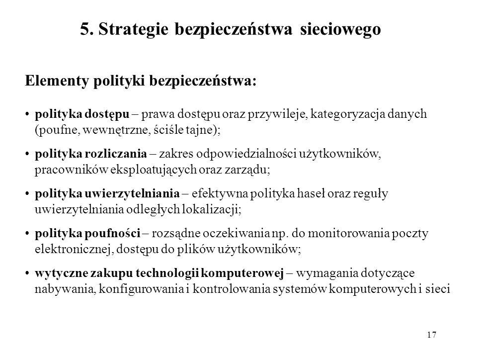 17 5. Strategie bezpieczeństwa sieciowego Elementy polityki bezpieczeństwa: polityka dostępu – prawa dostępu oraz przywileje, kategoryzacja danych (po