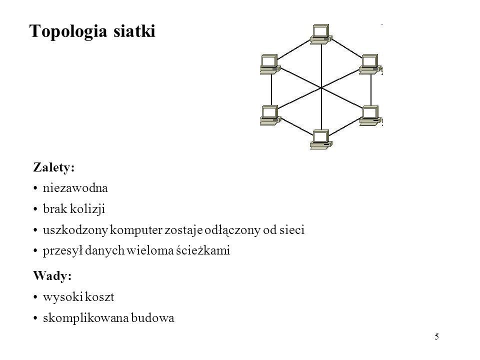 5 Topologia siatki Zalety: niezawodna brak kolizji uszkodzony komputer zostaje odłączony od sieci przesył danych wieloma ścieżkami Wady: wysoki koszt