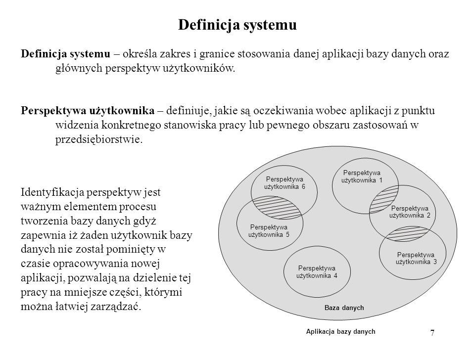 7 Definicja systemu Definicja systemu – określa zakres i granice stosowania danej aplikacji bazy danych oraz głównych perspektyw użytkowników.