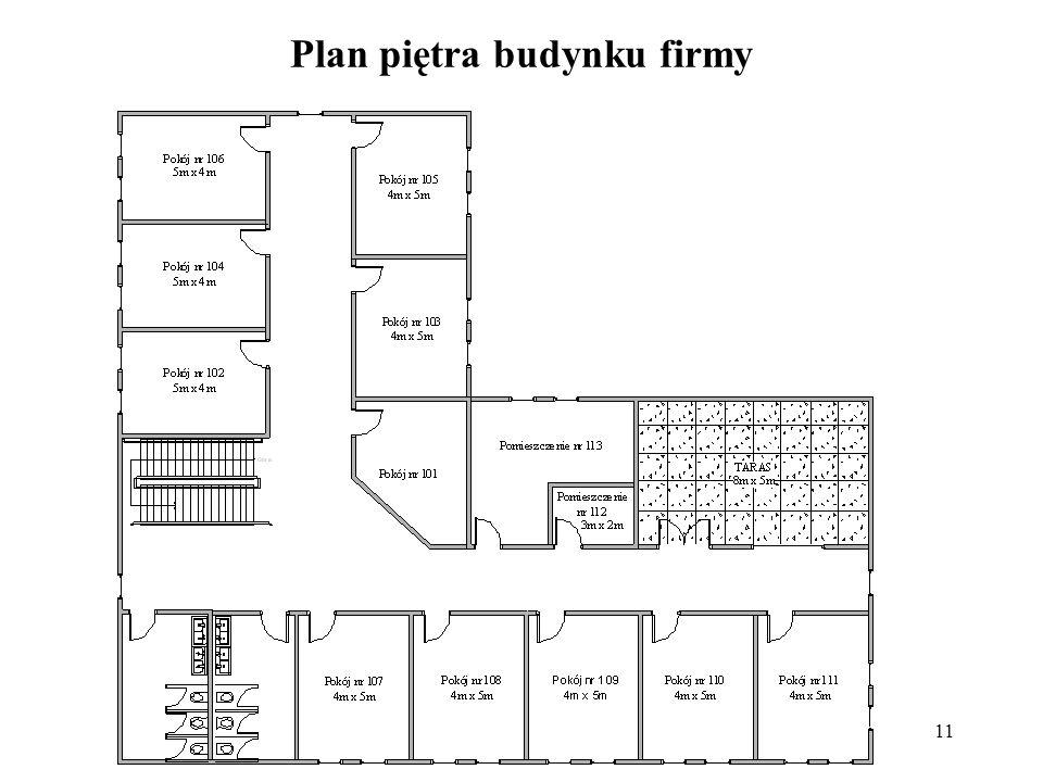 11 Plan piętra budynku firmy