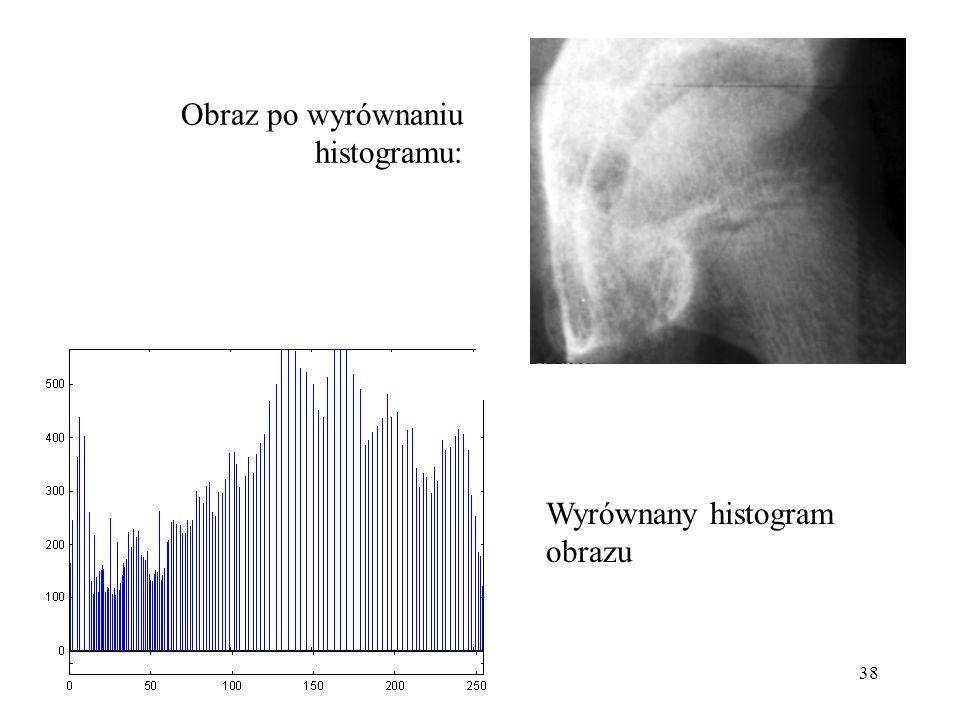 38 Obraz po wyrównaniu histogramu: Wyrównany histogram obrazu