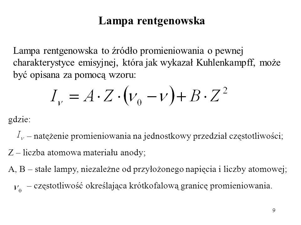 9 Lampa rentgenowska to źródło promieniowania o pewnej charakterystyce emisyjnej, która jak wykazał Kuhlenkampff, może być opisana za pomocą wzoru: gd