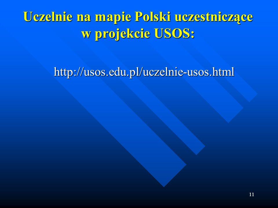 11 Uczelnie na mapie Polski uczestniczące w projekcie USOS: http://usos.edu.pl/uczelnie-usos.html http://usos.edu.pl/uczelnie-usos.html