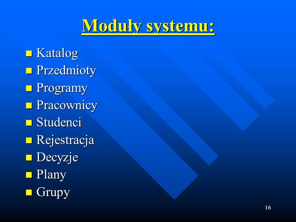 16 Moduły systemu: Katalog Katalog Przedmioty Przedmioty Programy Programy Pracownicy Pracownicy Studenci Studenci Rejestracja Rejestracja Decyzje Dec