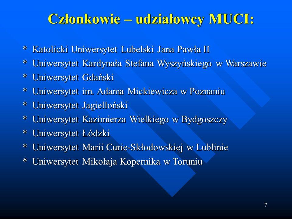 7 Członkowie – udziałowcy MUCI: * Katolicki Uniwersytet Lubelski Jana Pawła II * Katolicki Uniwersytet Lubelski Jana Pawła II * Uniwersytet Kardynała