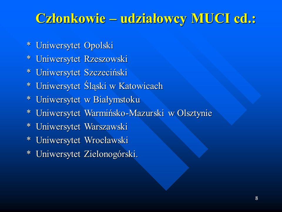 8 Członkowie – udziałowcy MUCI cd.: * Uniwersytet Opolski * Uniwersytet Opolski * Uniwersytet Rzeszowski * Uniwersytet Rzeszowski * Uniwersytet Szczec