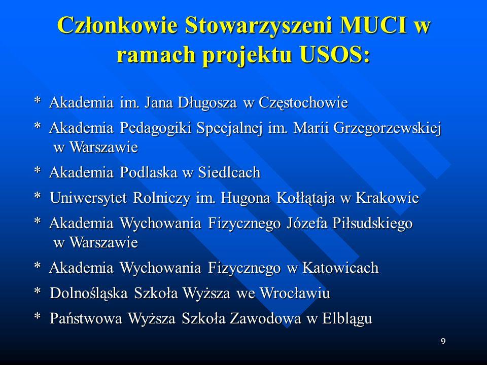 9 Członkowie Stowarzyszeni MUCI w ramach projektu USOS: * Akademia im. Jana Długosza w Częstochowie * Akademia im. Jana Długosza w Częstochowie * Akad
