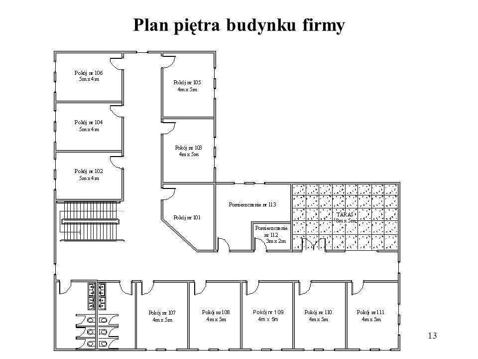 13 Plan piętra budynku firmy