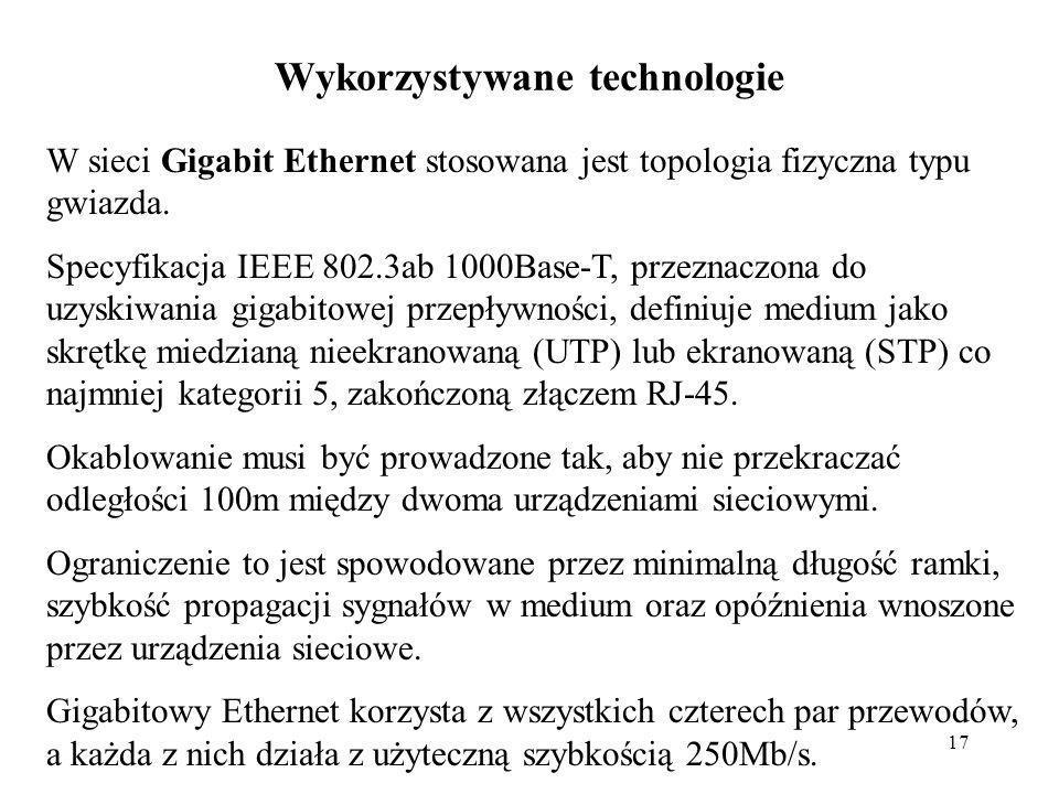 17 Wykorzystywane technologie W sieci Gigabit Ethernet stosowana jest topologia fizyczna typu gwiazda. Specyfikacja IEEE 802.3ab 1000Base-T, przeznacz