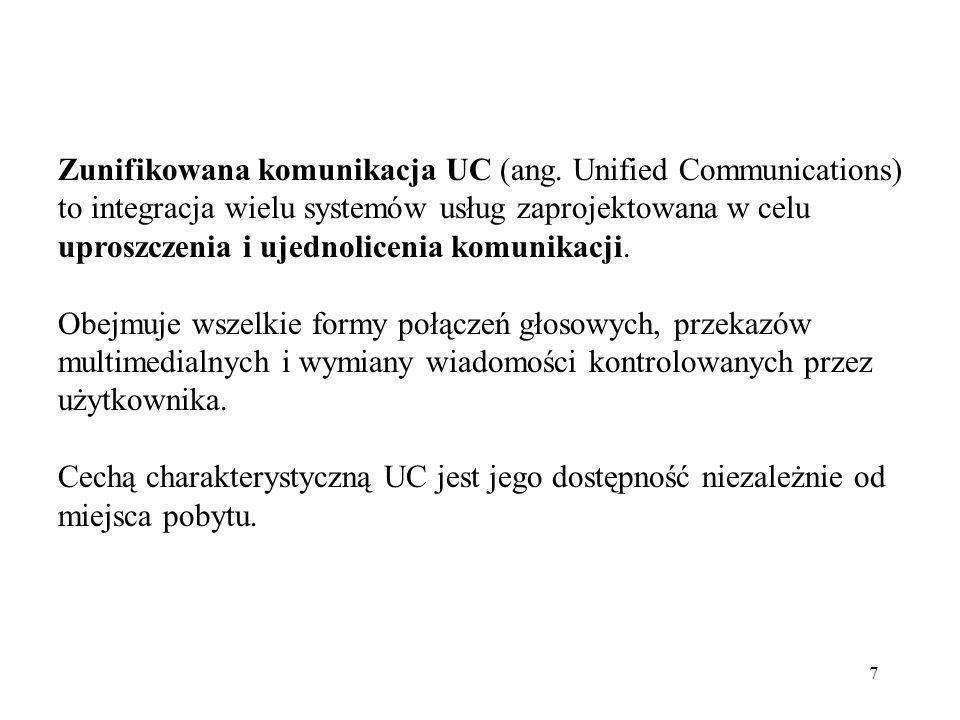 7 Zunifikowana komunikacja UC (ang. Unified Communications) to integracja wielu systemów usług zaprojektowana w celu uproszczenia i ujednolicenia komu