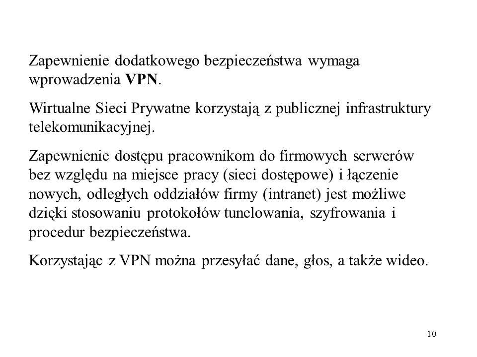 10 Zapewnienie dodatkowego bezpieczeństwa wymaga wprowadzenia VPN. Wirtualne Sieci Prywatne korzystają z publicznej infrastruktury telekomunikacyjnej.