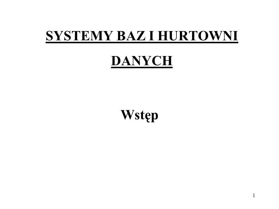 1 SYSTEMY BAZ I HURTOWNI DANYCH Wstęp
