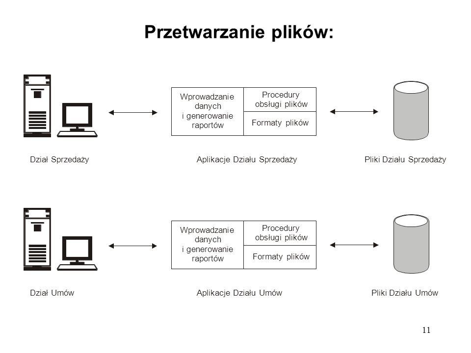 11 Przetwarzanie plików: Wprowadzanie danych i generowanie raportów Procedury obsługi plików Formaty plików Dział SprzedażyPliki Działu SprzedażyAplik