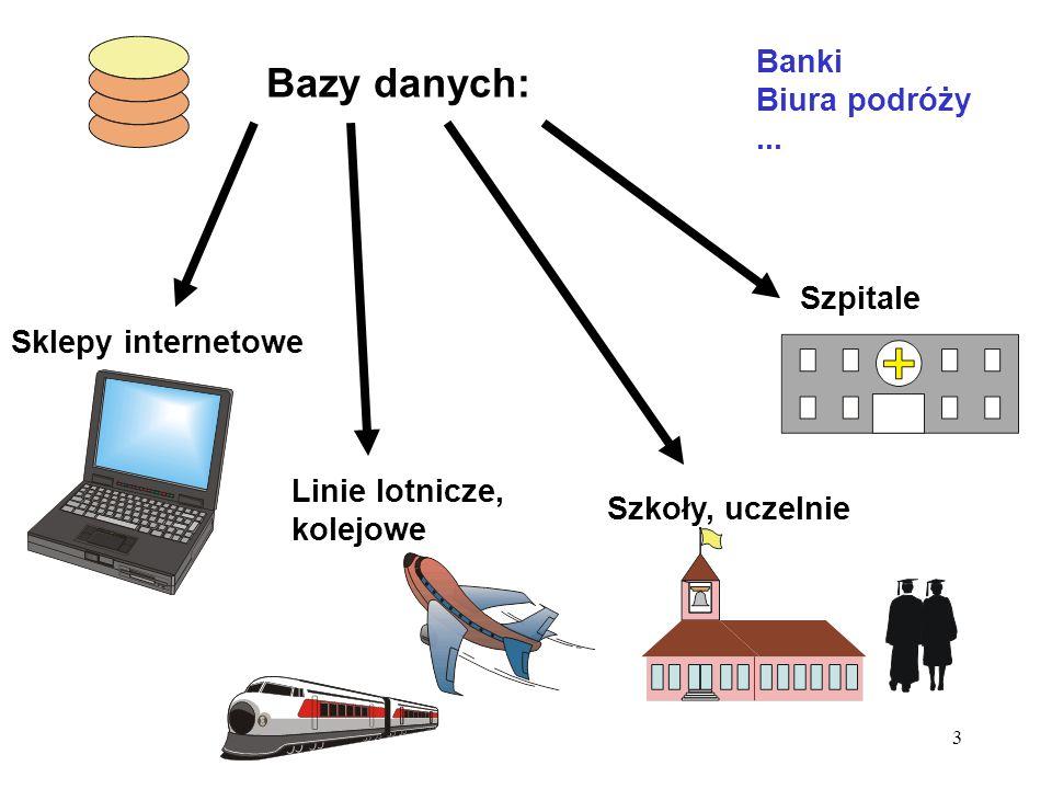 3 Bazy danych: Sklepy internetowe Linie lotnicze, kolejowe Szpitale Szkoły, uczelnie Banki Biura podróży...