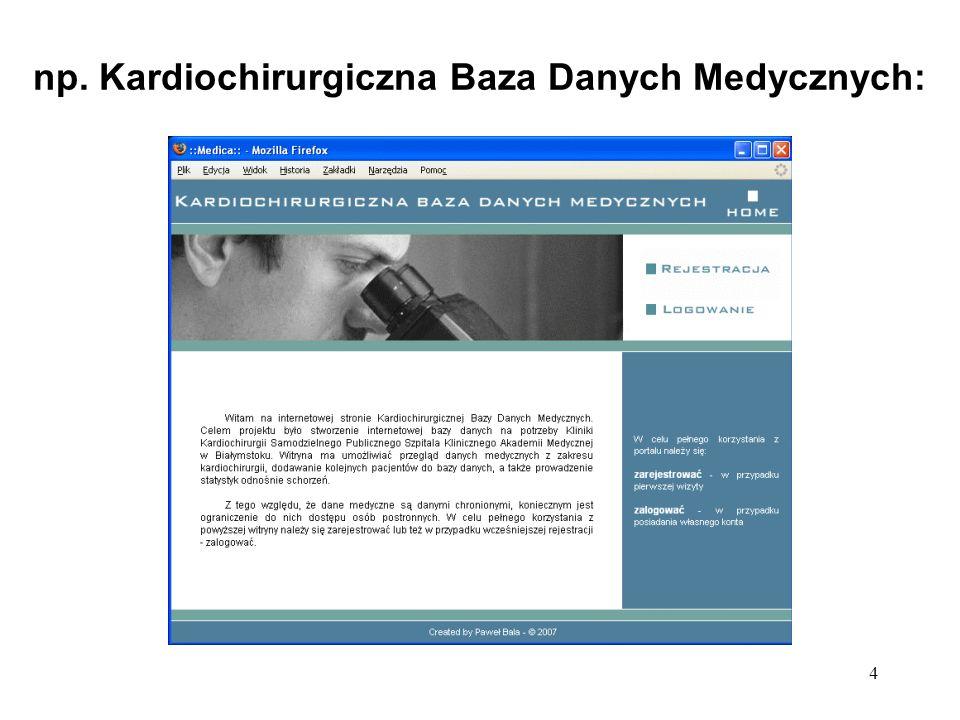 4 np. Kardiochirurgiczna Baza Danych Medycznych: