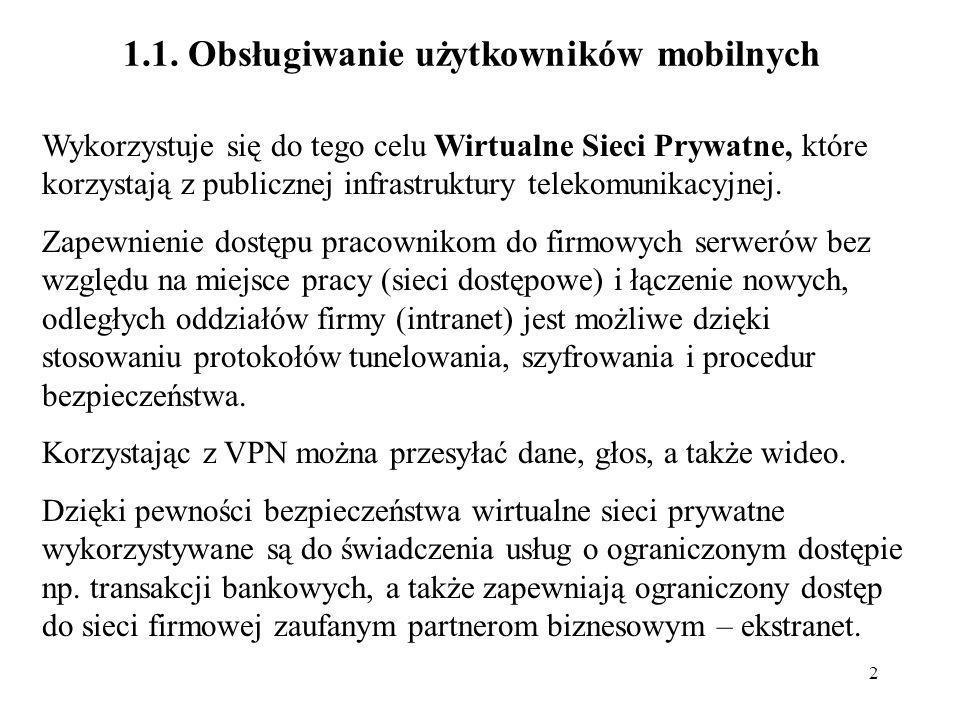 2 1.1. Obsługiwanie użytkowników mobilnych Wykorzystuje się do tego celu Wirtualne Sieci Prywatne, które korzystają z publicznej infrastruktury teleko