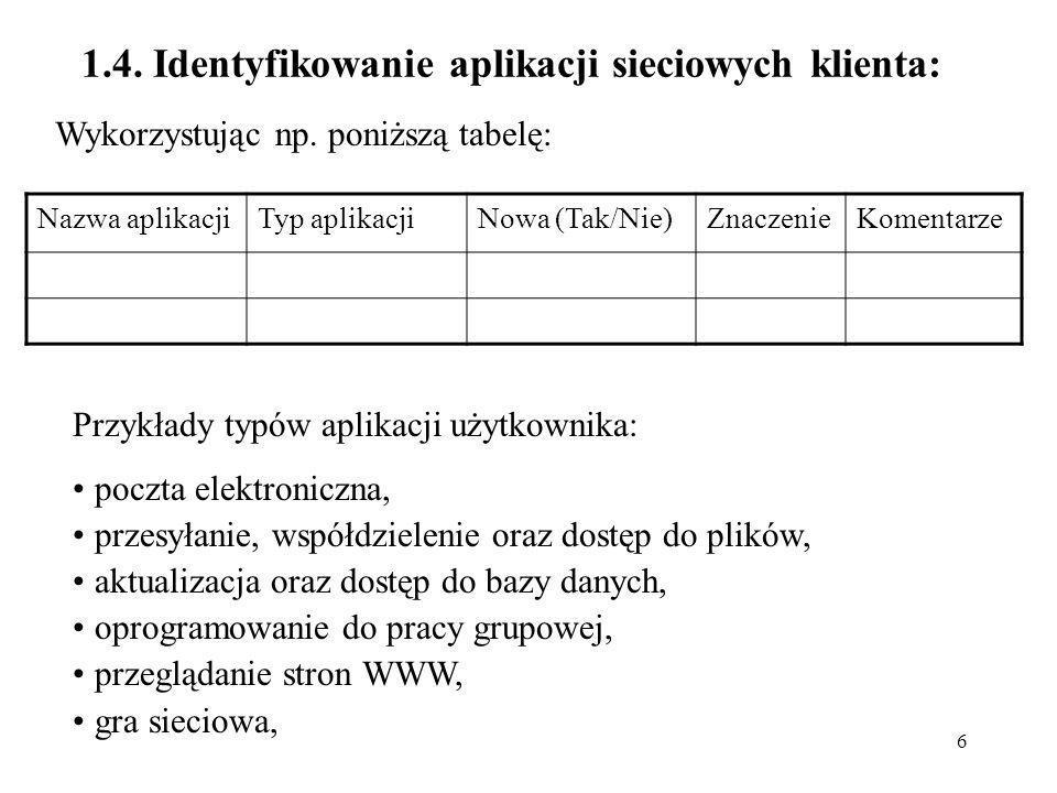 6 1.4. Identyfikowanie aplikacji sieciowych klienta: Wykorzystując np. poniższą tabelę: Nazwa aplikacjiTyp aplikacjiNowa (Tak/Nie)ZnaczenieKomentarze