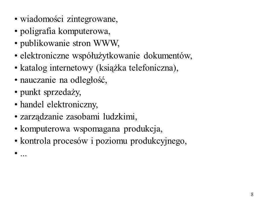 8 wiadomości zintegrowane, poligrafia komputerowa, publikowanie stron WWW, elektroniczne współużytkowanie dokumentów, katalog internetowy (książka tel