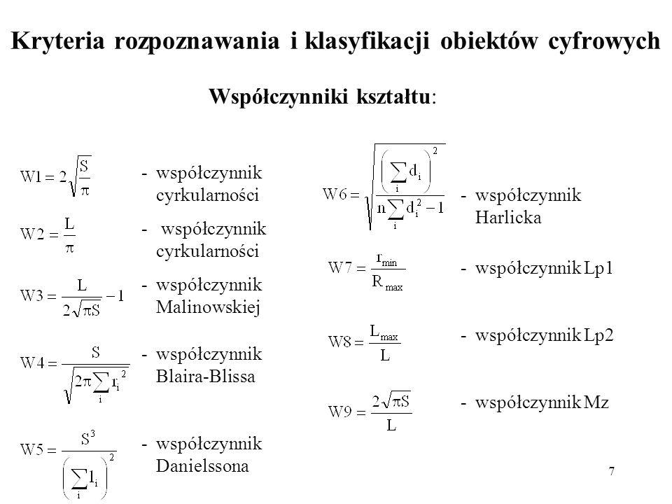 7 Kryteria rozpoznawania i klasyfikacji obiektów cyfrowych Współczynniki kształtu: -współczynnik cyrkularności -współczynnik Malinowskiej -współczynni
