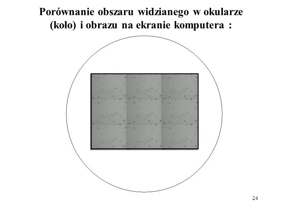 24 Porównanie obszaru widzianego w okularze (koło) i obrazu na ekranie komputera :