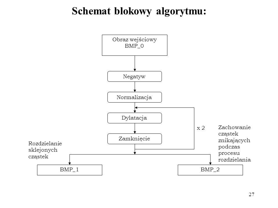 27 Schemat blokowy algorytmu: Negatyw Obraz wejściowy BMP_0 Normalizacja Dylatacja Zamknięcie BMP_1BMP_2 x 2 Zachowanie cząstek znikających podczas pr