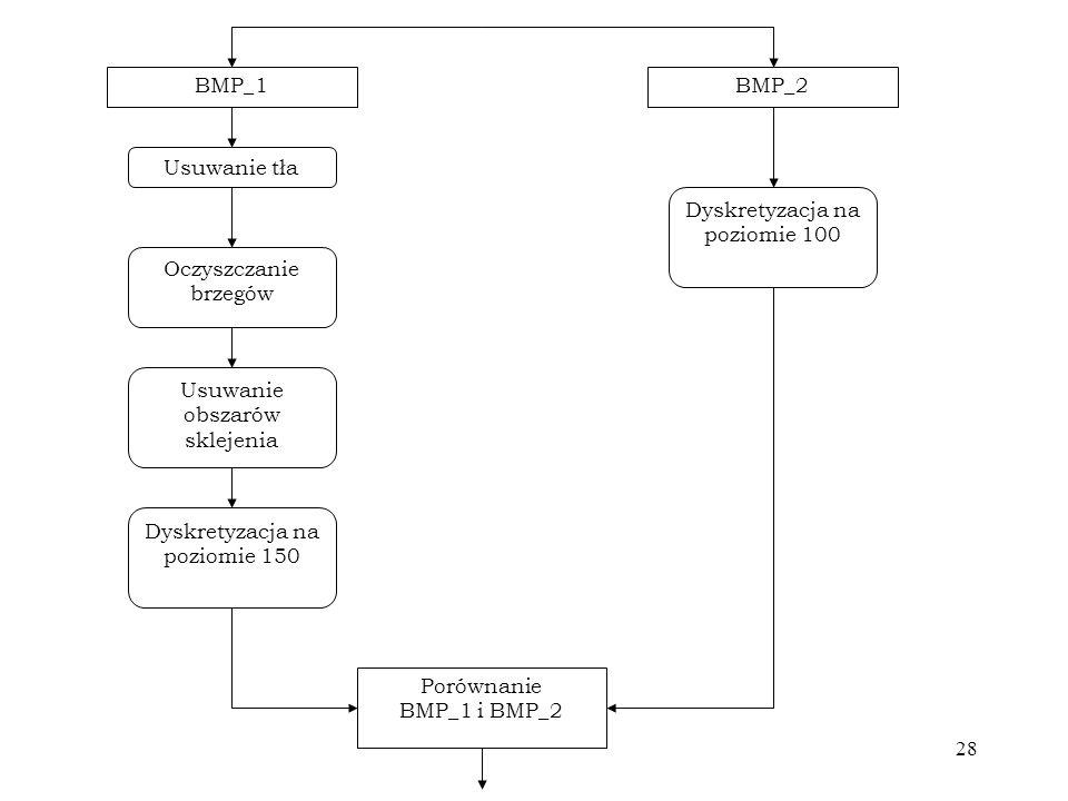 28 BMP_1BMP_2 Usuwanie tła Oczyszczanie brzegów Usuwanie obszarów sklejenia Dyskretyzacja na poziomie 150 Dyskretyzacja na poziomie 100 Porównanie BMP