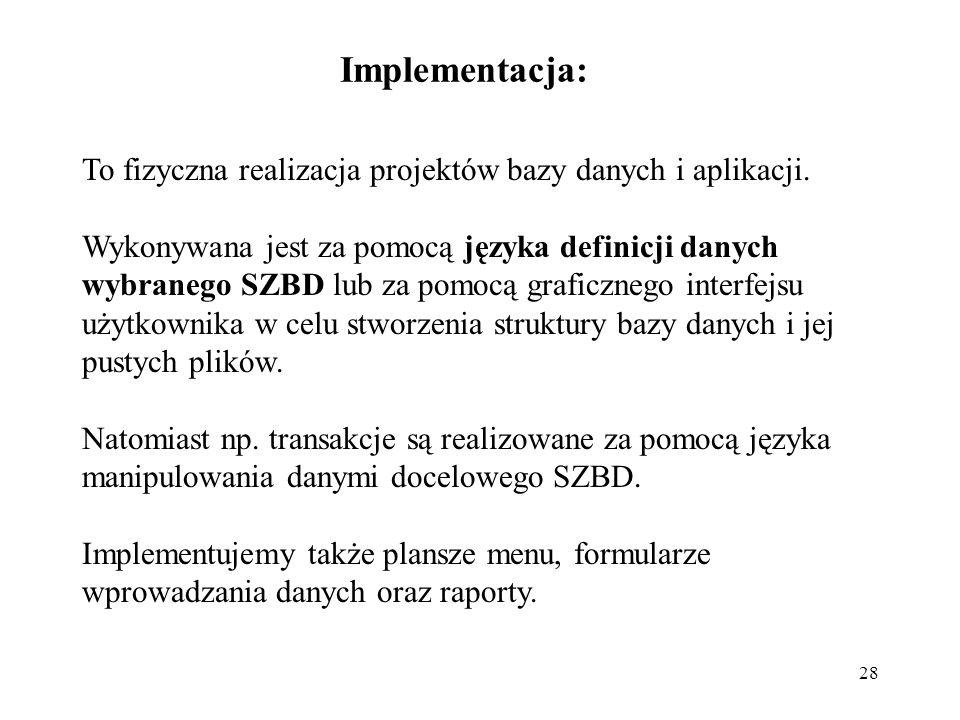28 Implementacja: To fizyczna realizacja projektów bazy danych i aplikacji.
