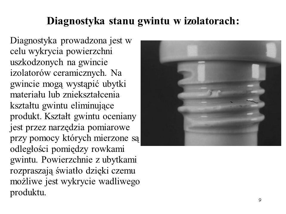 9 Diagnostyka stanu gwintu w izolatorach: Diagnostyka prowadzona jest w celu wykrycia powierzchni uszkodzonych na gwincie izolatorów ceramicznych. Na