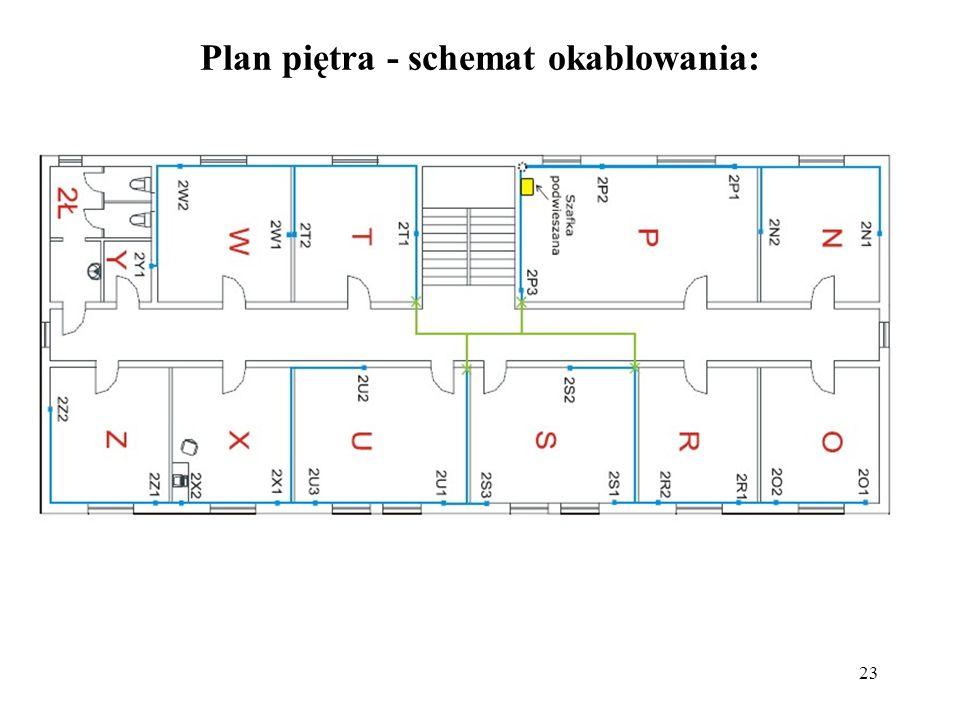 23 Plan piętra - schemat okablowania:
