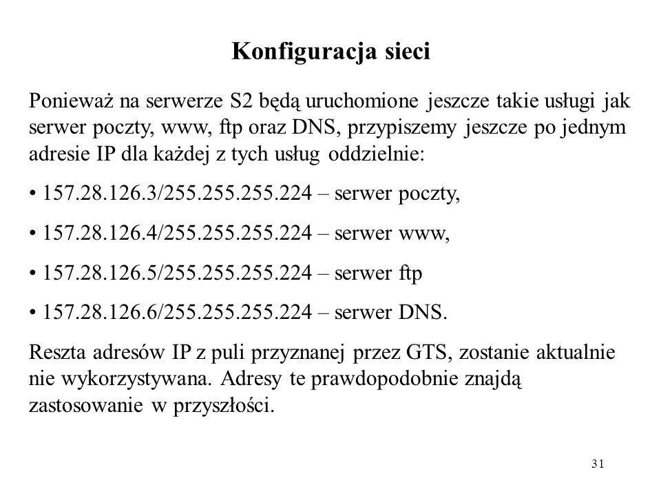 31 Konfiguracja sieci Ponieważ na serwerze S2 będą uruchomione jeszcze takie usługi jak serwer poczty, www, ftp oraz DNS, przypiszemy jeszcze po jedny