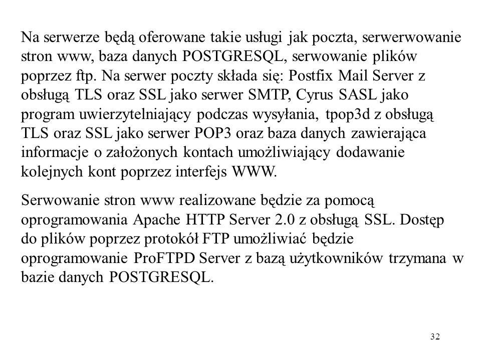 32 Na serwerze będą oferowane takie usługi jak poczta, serwerwowanie stron www, baza danych POSTGRESQL, serwowanie plików poprzez ftp. Na serwer poczt