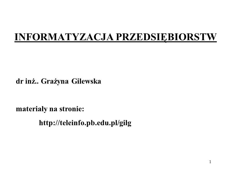 1 INFORMATYZACJA PRZEDSIĘBIORSTW dr inż.. Grażyna Gilewska materiały na stronie: http://teleinfo.pb.edu.pl/gilg