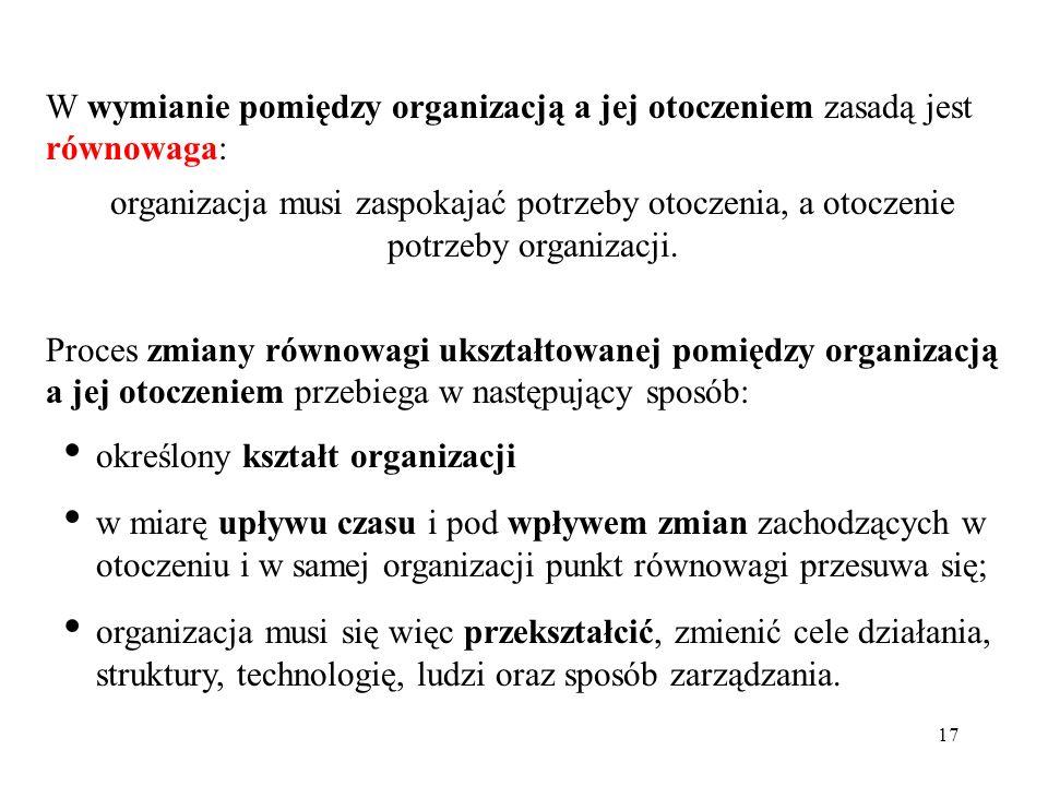17 W wymianie pomiędzy organizacją a jej otoczeniem zasadą jest równowaga: organizacja musi zaspokajać potrzeby otoczenia, a otoczenie potrzeby organi