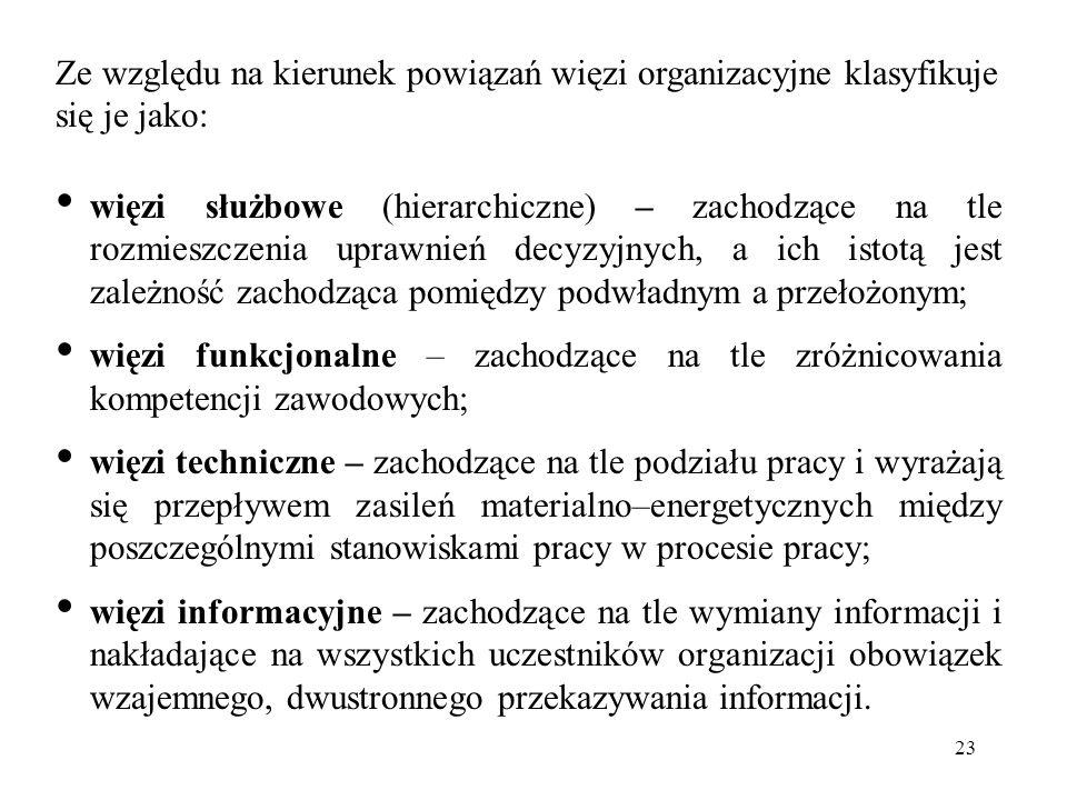 23 Ze względu na kierunek powiązań więzi organizacyjne klasyfikuje się je jako: więzi służbowe (hierarchiczne) – zachodzące na tle rozmieszczenia upra