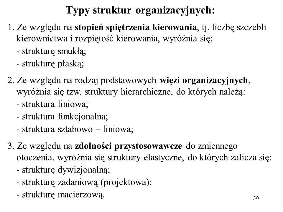 30 Typy struktur organizacyjnych: 1. Ze względu na stopień spiętrzenia kierowania, tj. liczbę szczebli kierownictwa i rozpiętość kierowania, wyróżnia