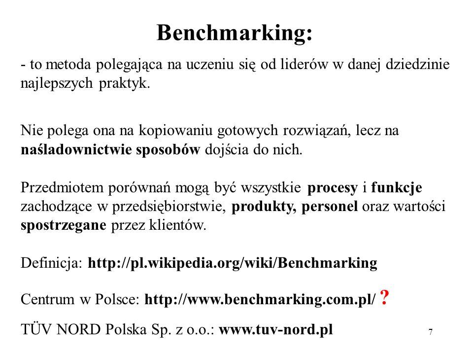 7 Benchmarking: - to metoda polegająca na uczeniu się od liderów w danej dziedzinie najlepszych praktyk. Nie polega ona na kopiowaniu gotowych rozwiąz
