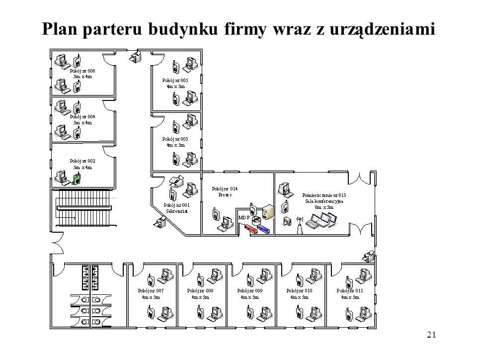 21 Plan parteru budynku firmy wraz z urządzeniami