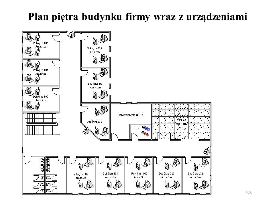 22 Plan piętra budynku firmy wraz z urządzeniami