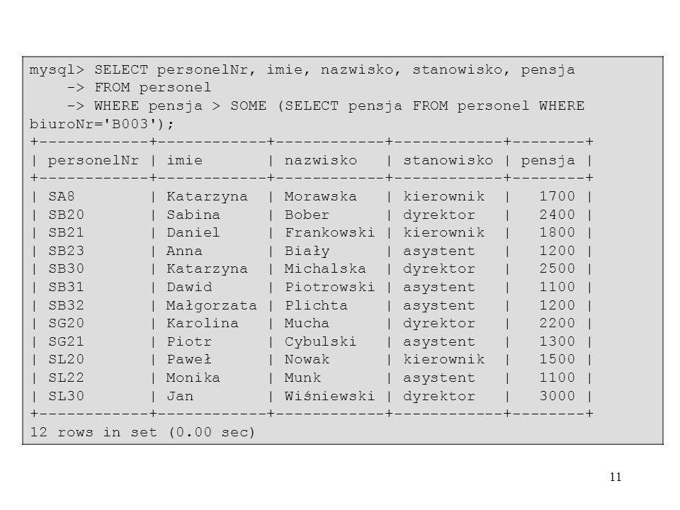 11 mysql> SELECT personelNr, imie, nazwisko, stanowisko, pensja -> FROM personel -> WHERE pensja > SOME (SELECT pensja FROM personel WHERE biuroNr='B0