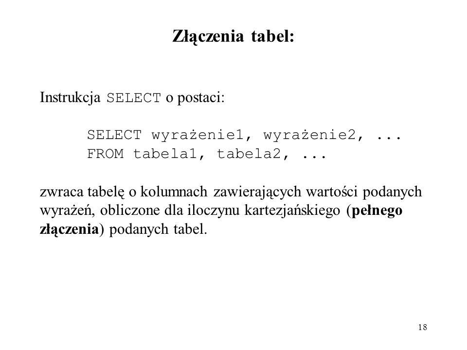 18 Złączenia tabel: Instrukcja SELECT o postaci: SELECT wyrażenie1, wyrażenie2,... FROM tabela1, tabela2,... zwraca tabelę o kolumnach zawierających w