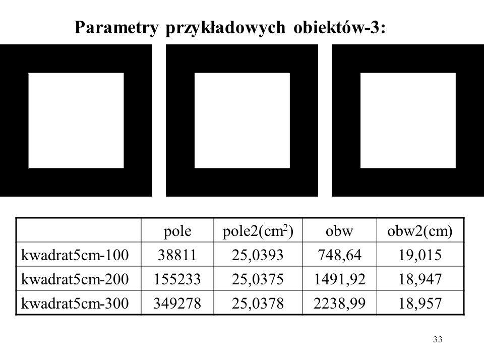 33 Parametry przykładowych obiektów-3: polepole2(cm 2 )obwobw2(cm) kwadrat5cm-1003881125,0393748,6419,015 kwadrat5cm-20015523325,03751491,9218,947 kwa